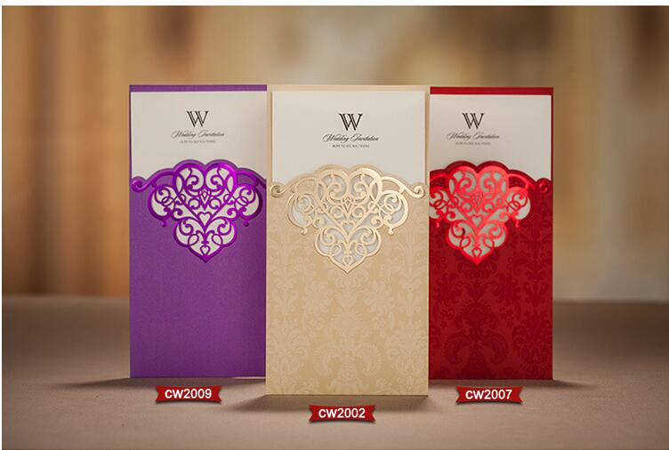 2017 New Designs Shiny Red Purple Gold Hollow Laser Cut Wedding Invitations  Cards With Envelopes And Seals, Free Printing In Cards U0026 Invitations From  Home ...