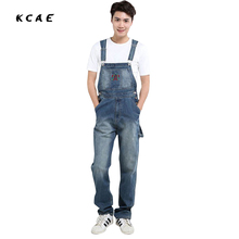 Men's fashion pocket denim overalls for boys Male casual loose jumpsuits Plus large size jeans Bib pants Free shipping