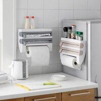 Useful ABS Kitchen Roll Holder Kitchen Foil Film Wrap Tissue Paper Dispenser Rack Storage Shelf For Kitchen Bedroom Organization