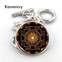 ФОТО Konminry Trendy Silver Color Abstract Geometric Design Pattern  Charm Bracelets  Bangles  Women Men  Jewelry