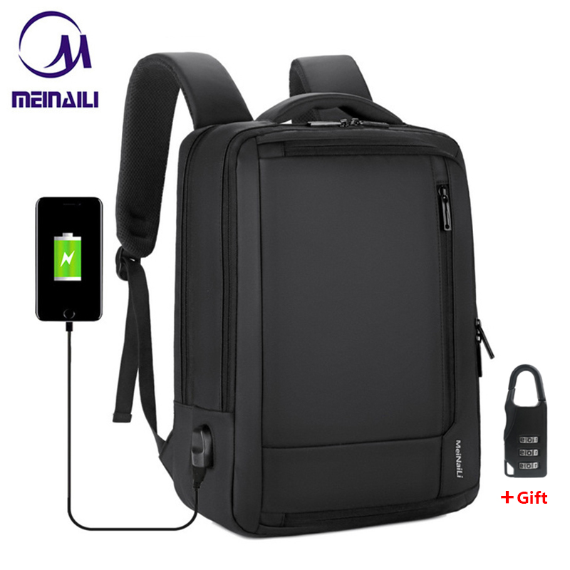 "2019 Mens Anti-theft 14 15.6"" inch Laptop Backpack USB Charging Waterproof Male Business Travel Back Pack  Boys School Bagpacks(China)"