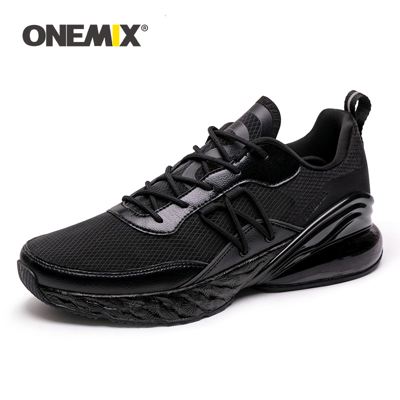 ONEMIX Men Air Cushion Running Shoes Breathable Textile Upper Black Summer Sneakers Lightweight Outdoor Sport TrainersONEMIX Men Air Cushion Running Shoes Breathable Textile Upper Black Summer Sneakers Lightweight Outdoor Sport Trainers