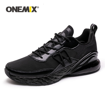 ONEMIX Men Air Cushion Running Shoes Breathable Textile Upper Black Summer Sneakers Lightweight Outdoor Sport Trainers