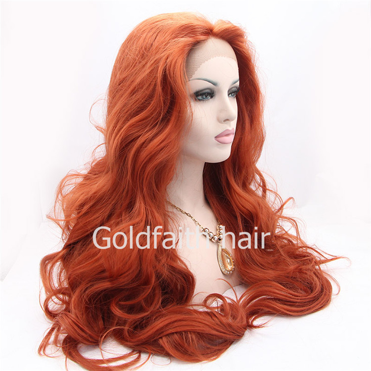 SF3 Cheap Extra Long Wine Red Synthetic Lace Front Wig ...