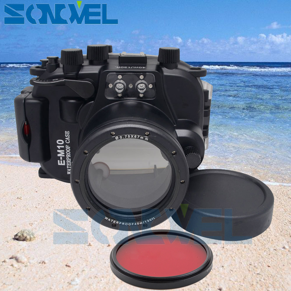 Meikon 40m 130ft Waterproof Underwater Diving Case Camera Housing Case For Olympus E-M10 EM10 and 14-42mm lens + 67mm Red Filter ready stock meikon waterproof underwater housing camera diving case for canon power shot g11 12 lens wp dc34