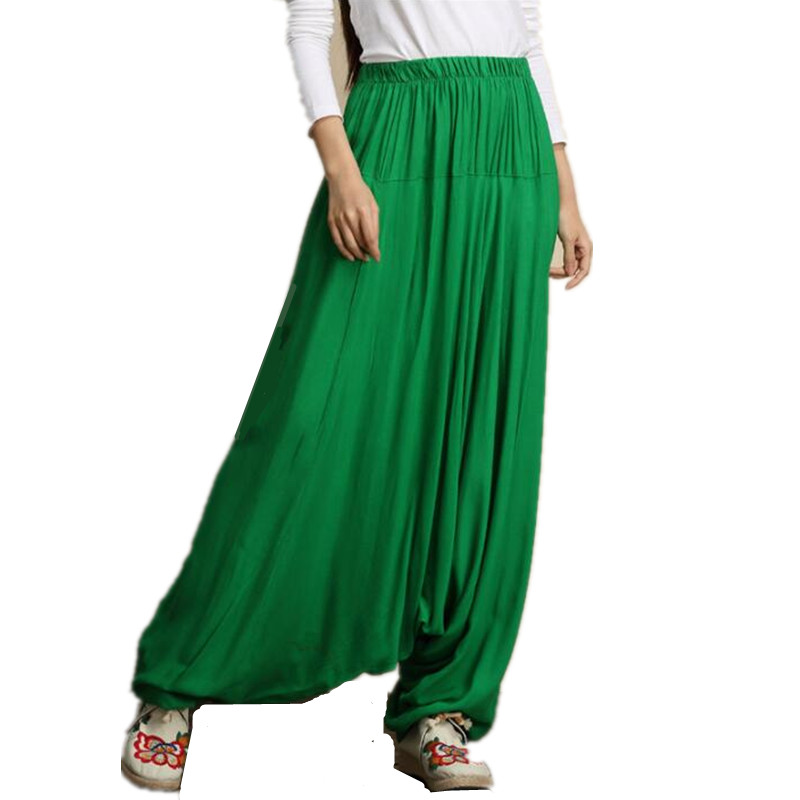 Women Harem Pants Casual Loose Cotton Solid Elastic Waist Wide Leg Pants Plus Size M-5XL loose long bloomers trousers 15 colors