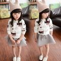 2016 New Fashion style Kids girls Cardigan White Grey Color Bow style long sleeve clothes for girls 3~11 years