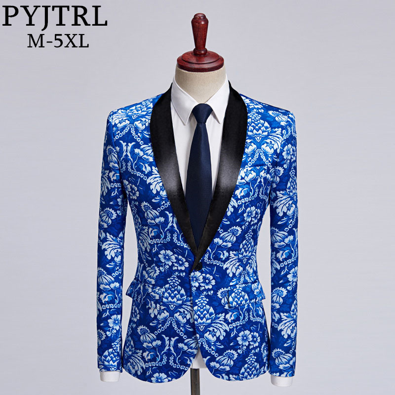 PYJTRL New Mens Fashion Blue Floral Print Casual Blazer Design 5XL Plus Size Wedding Groom Stage Singer Costume Tide Suit Jacket