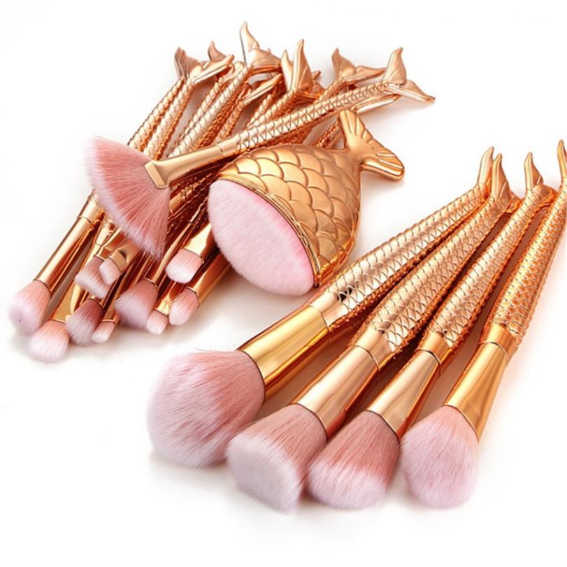 1 Set Mermaid Makeup Brushes Set Professional Advanced Cosmetic Set Tools Mulitcolor powder brushes Women Beauty 5M0104