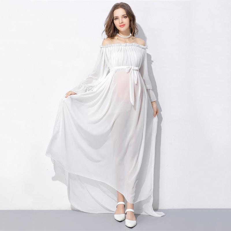 Pure White Maternity Photography Props Lace Dress For Maternity Clothing Sexy Off Shoulder Chiffon Comfortable Dress