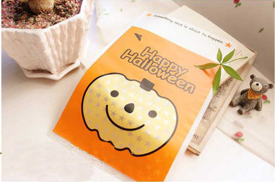 HAPPY HALLOWEEN, HALLOWEEN lovely whimsy pumpkin head gift bags/candy bag/ Flat pocket cookie bag 100 pieces/set baking  tool