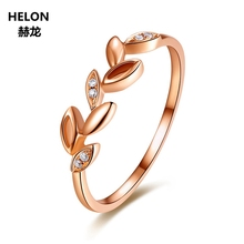 Leaf Solid 14k Rose Gold Natural Diamonds Engagement Ring Wedding Anniversary Band Fine Jewelry Women Trendy