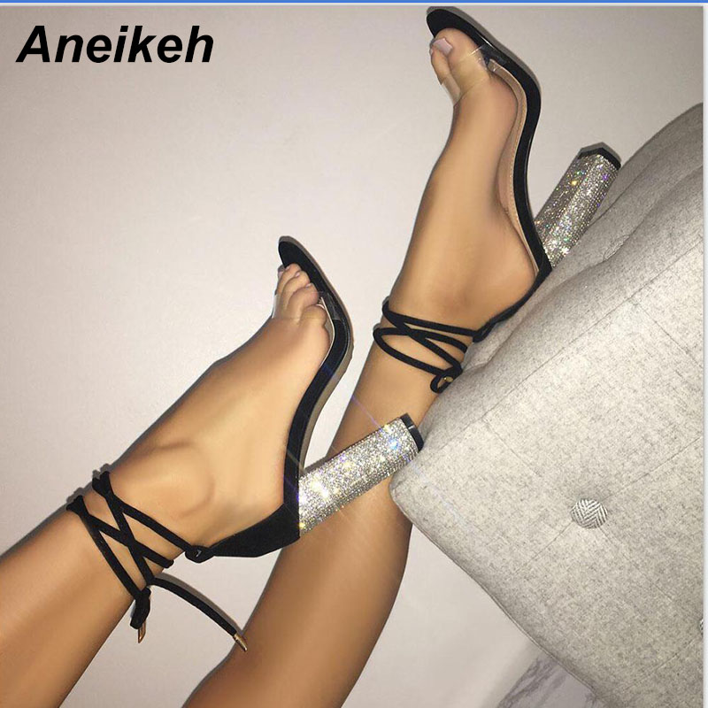 Aneikeh Women High Heels Sandals Summer Square Heels Crystal Heeled Platform Shoes Ladies Sexy Party Wedding Lace Up Shoes 1