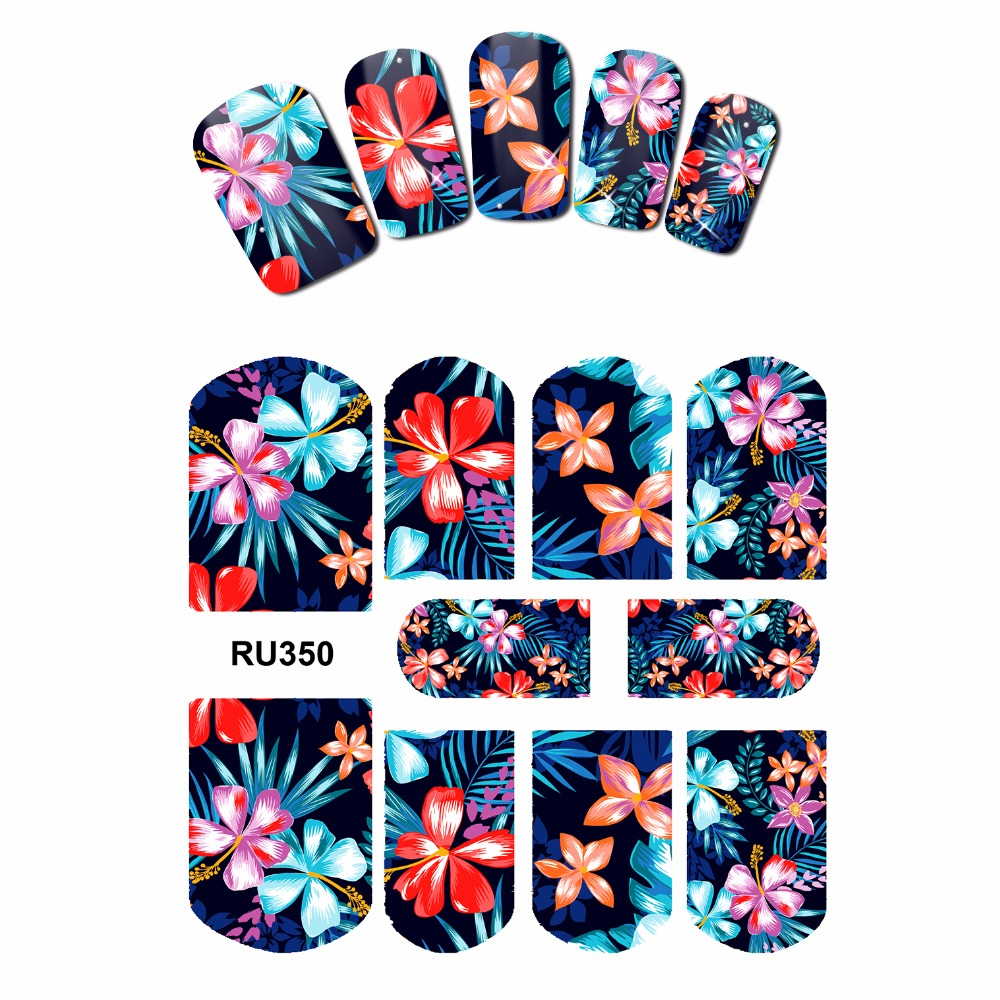 NAIL ART NAIL BEAUTY WATER STICKER DECAL SLIDER FULL COVER  TROPICAL FLOWER PLANTS PURPLE DAISY ORCHID RU349-354 4 packs lot full cover white french smile lace tattoos sticker water decal nail art d363 366w