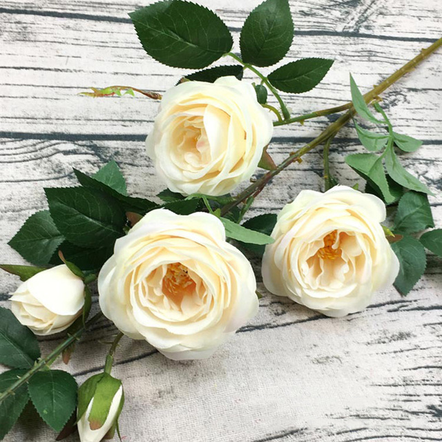 1pc 6 Heads Artificial Roses Silk Flowers For Wedding Anniversary