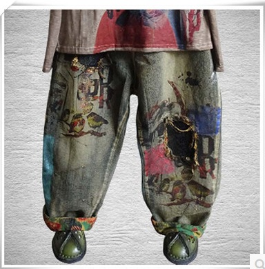 New product release in the autumn  of 2016, the original design cowboy cotton loose big yards of women's harem  pants цена и фото