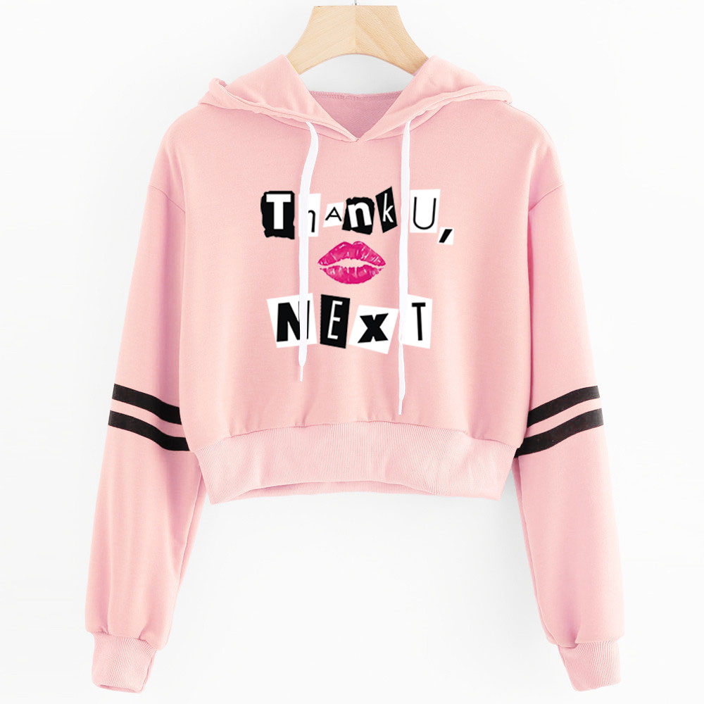 2019 Ariana Grande Album Hoodies Korean Crop Top Sweatshirt Female Harajuku Pink Cropped Hoodie Women Kawaii Clothes Hip Hop