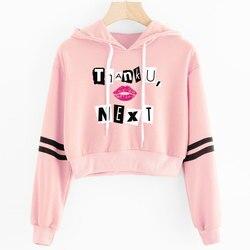 2019 Korean crop top hoodie Women Harajuku Kawaii Ariana Grande Hoodie clothes Female Pink Casual Hip Hop Hoodies Sweatshirts 1