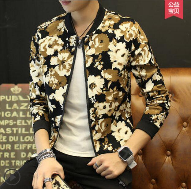 Buy Spring autumn Korean style new casual oversize outerwear young men printing blazer jacket male fashion tide good coat outfit