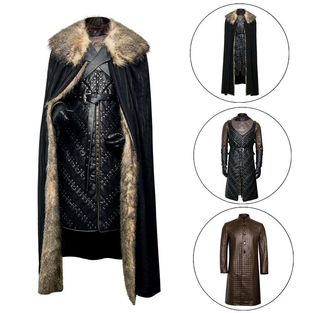 Newest Jon Snow Knight Cosplay Costume Game of Thrones Season 8 Leather Battle Armor Suit Men Halloween Cloak Outfit Full Set