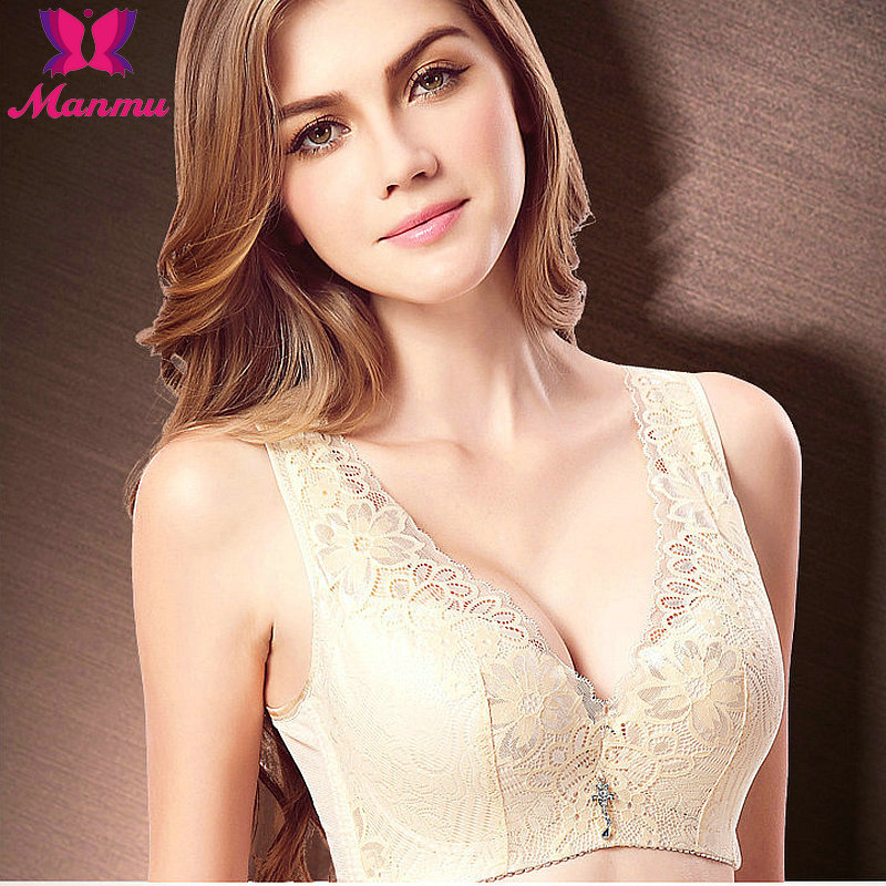 Lace Embroidery Big Size Thin Cotton Push Up Bra C Cup ...