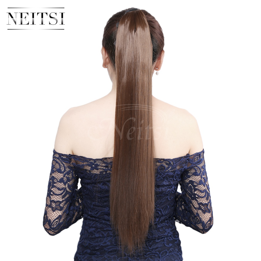 Neitsi 22'' 1pc Ponytail Hair Extensions Straight Clip In Synthetic Drawstring Hairpieces Pony Tail Hair Extensions For Women