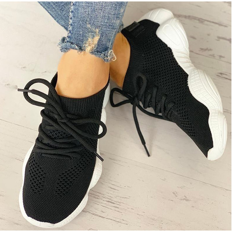 HTB1zipxSCzqK1RjSZFLq6An2XXaL Women Mesh Spring Sneakers Ladies Lace Up Stretch Fabric Platform Flat Vulcanized Casual Shoes Female Breathable Fashion