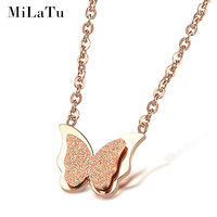 MiLaTu Brand Rose Gold Plated 3D Butterfly Pendant Necklace For Women Stainless Steel Jewelry Accessories Vintage