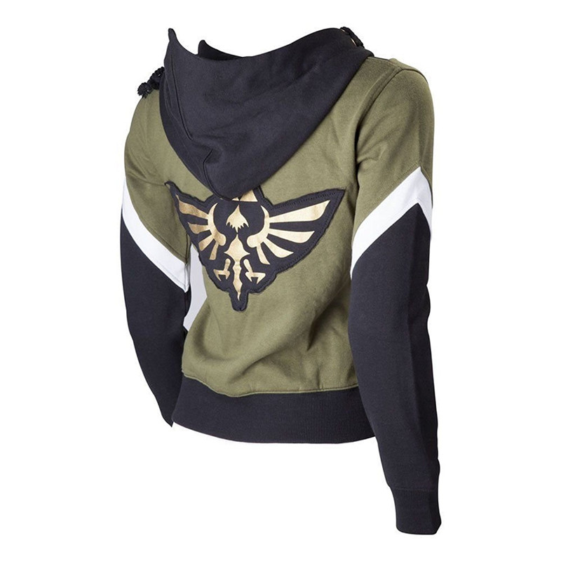 The Legend of Zelda Cosplay Costume Hyrule Link Logo Hoodie Jacket Coat Sweatshirt Suit Womens Zelda Crest Hooded Sweater