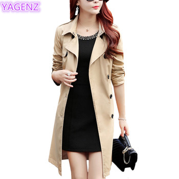 YAGENZ Plus size Trench Coat Autumn Coat Women Long Coats Windbreaker Top Double-breasted Boutique Women Clothing Fashion Coat88