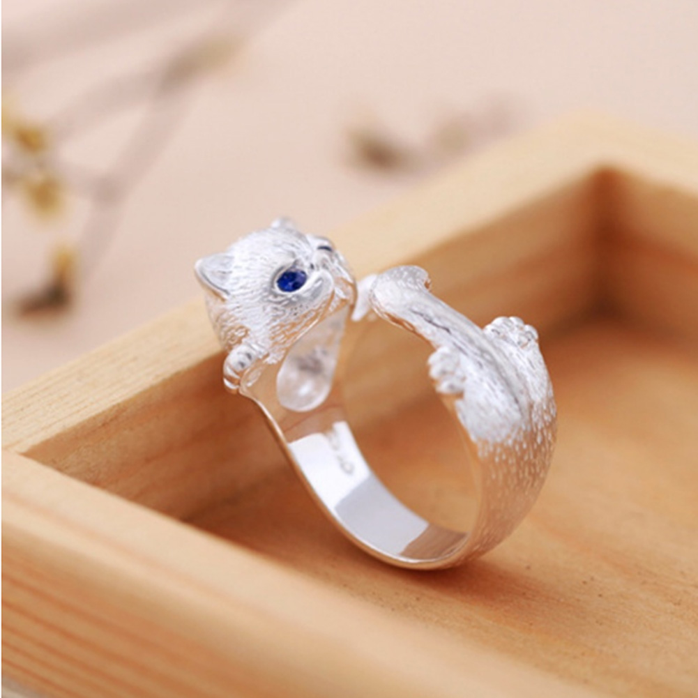 Lovely Silver Plated Cat Ring