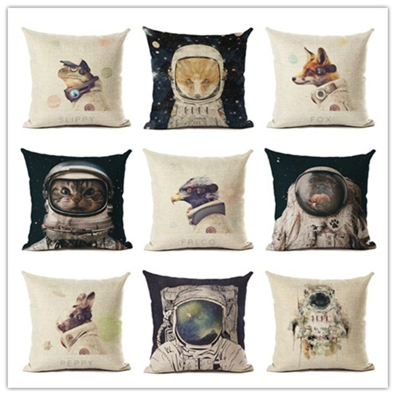 Cojines Animal Print.Us 3 46 36 Off New High Quality Creative Fantasy Style Space Animal Print Home Docor Fundas Cotton Linen Cushion Cover Throw Pillow Cojines In