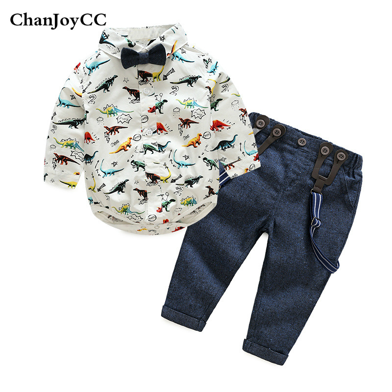 Baby Boys Clothing Sets Autumn New Fashion Kids Bow Tie Long Sleeve Cartoon T-shirt+Suspender Pants 2Pcs/set Baby Clothing baby boys autumn clothes sets long sleeve shirt cotton suit toddler boy little gentleman bow tie kids costume christmas clothing