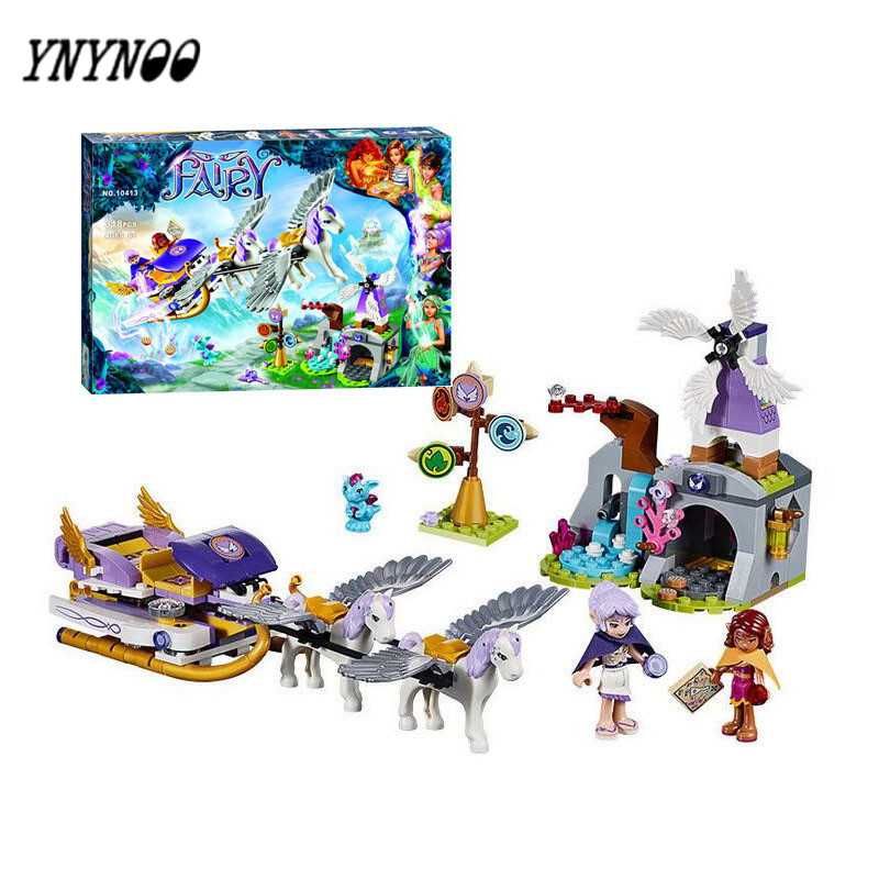 YNYNOO Elves figures Aira's Pegasus Sleigh 41077 Building Brick Original 79224 Worriz Fairy Compatible Belalele Toy For Childre велосипед pegasus piazza gent 7 sp 28 2016