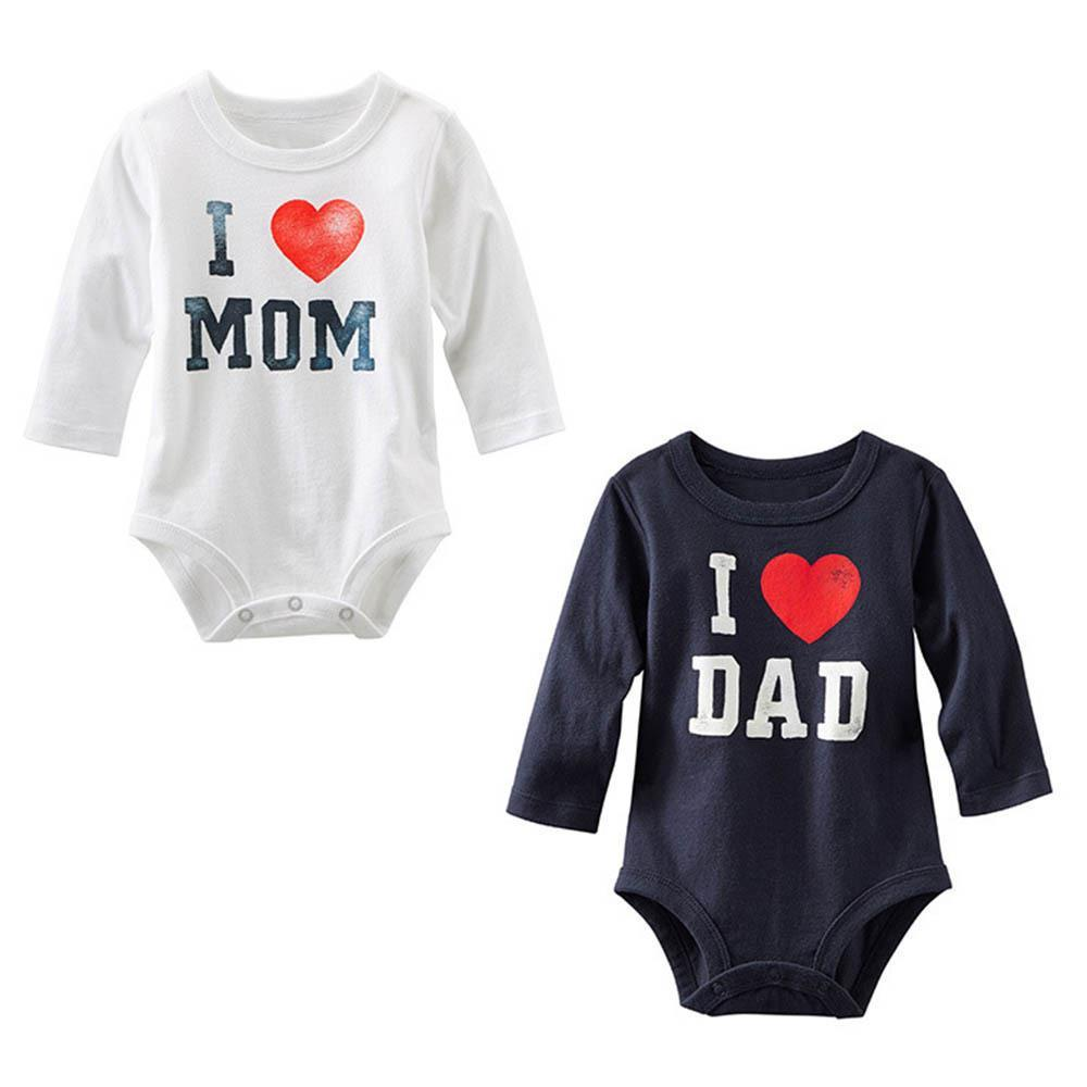 2019 new Baby Girls Boys Unisex Kids Infant Baby I Love MOM/DAD Print Long Sleeve   Romper   Jumpsuit 2 colors