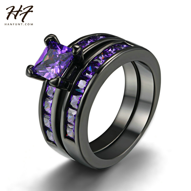 b5353598a1c New Vintage Two Band Black Gold Wedding Ring Sets for Women Men Princess  Cut Purple Cubic Zirconia Engagement Xmas Jewelry R687