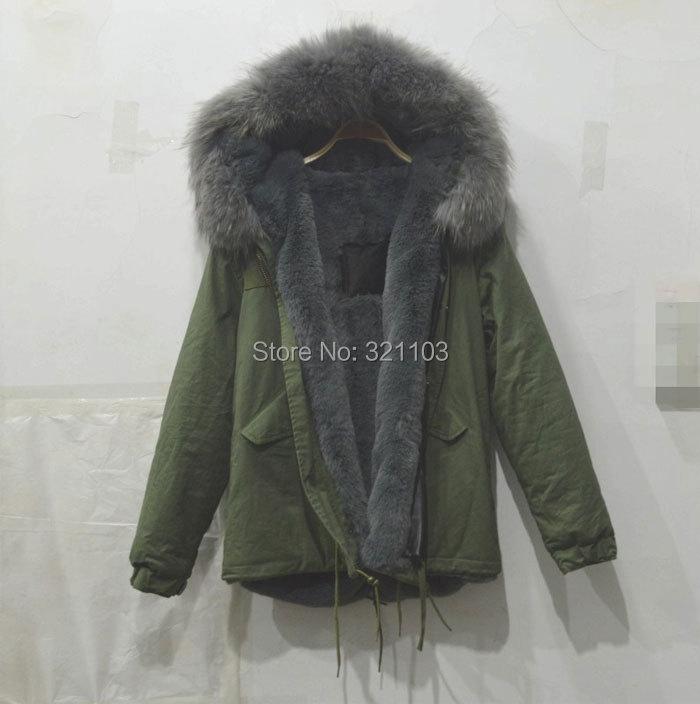 Paní kožešiny šedá parka s velkým šedým skutečným kožešinovým límcem, Čína kožešinová parka kabáty výrobce dodavatelská cena doprava zdarma