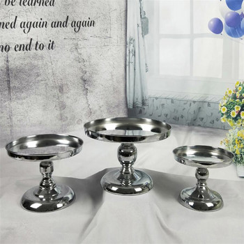 Hot Silver Mirror cake stand Electroplating Metal cupcake stand Grand design baking love wedding party dessert table decoration