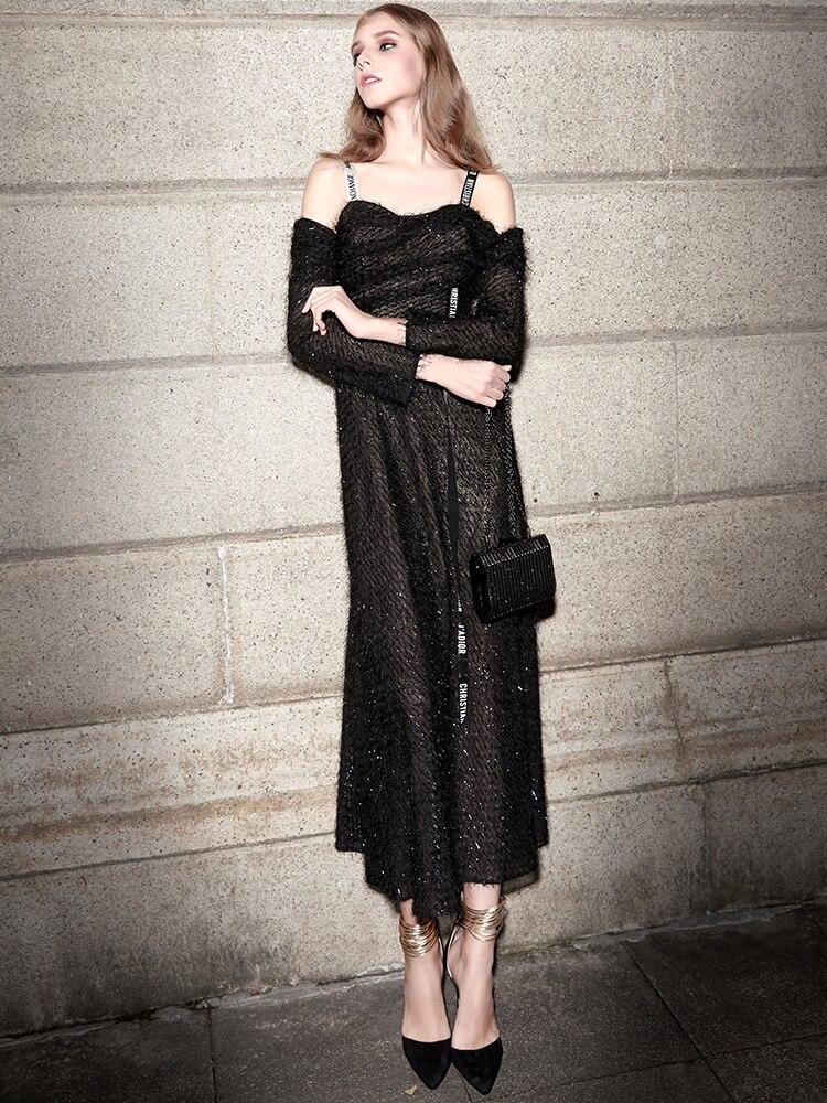 De Automne Robes Robe Qualité Q116 Plissée Hiver Mince Halter 2018 Femmes Long Tricot Mode Haute Hapq0w