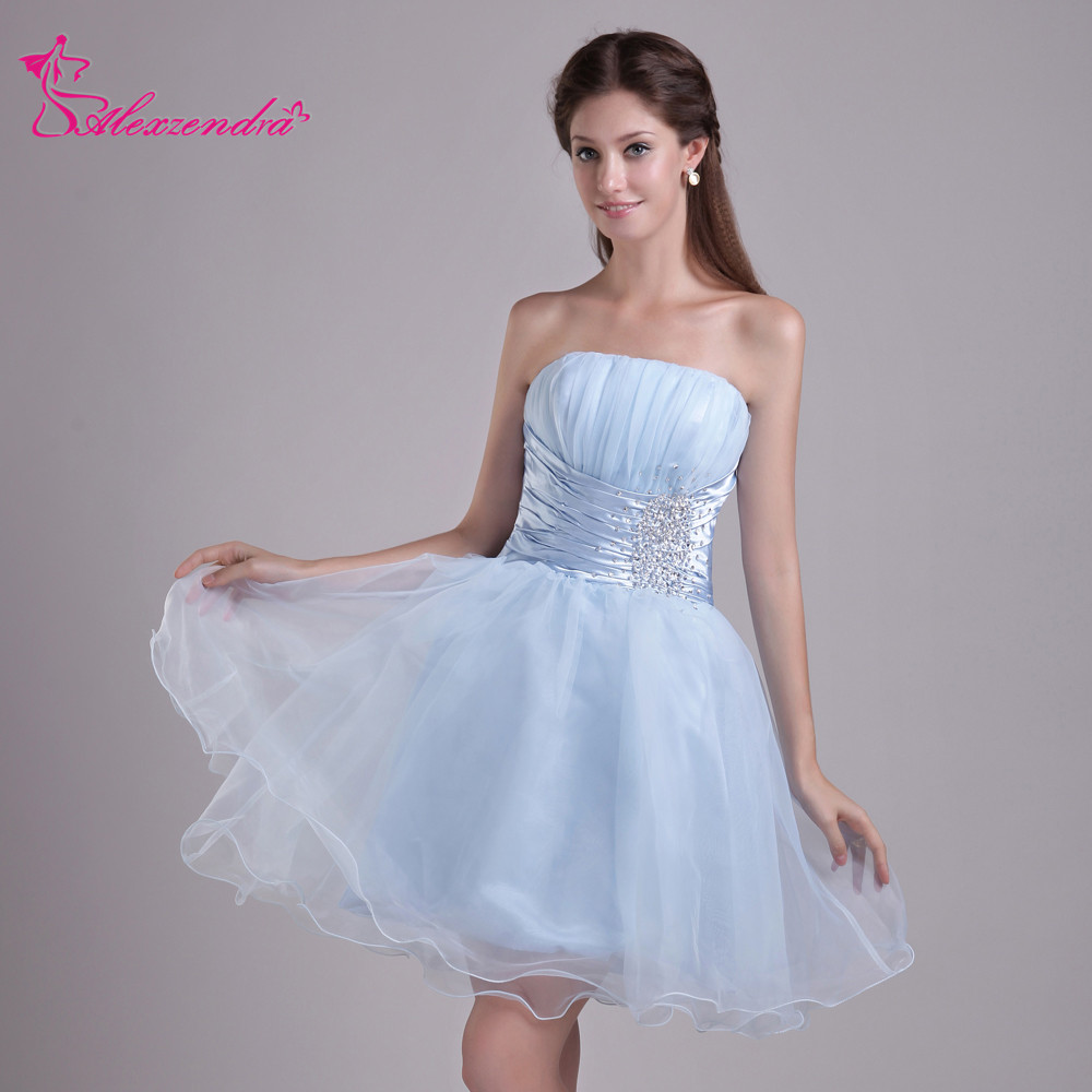 Alexzendra Strapless Beads Light Blue Organza Mini A Line Prom Dresses Simple Special Party Gowns