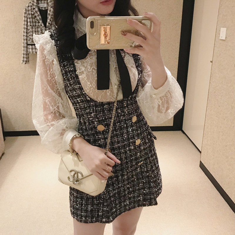 Autumn Winter 2 Piece Set Dress Women Ruffles Bow Shirt Lace Top+Plaid Sleeveless Tweed Vest Dress Double Breasted Overalls