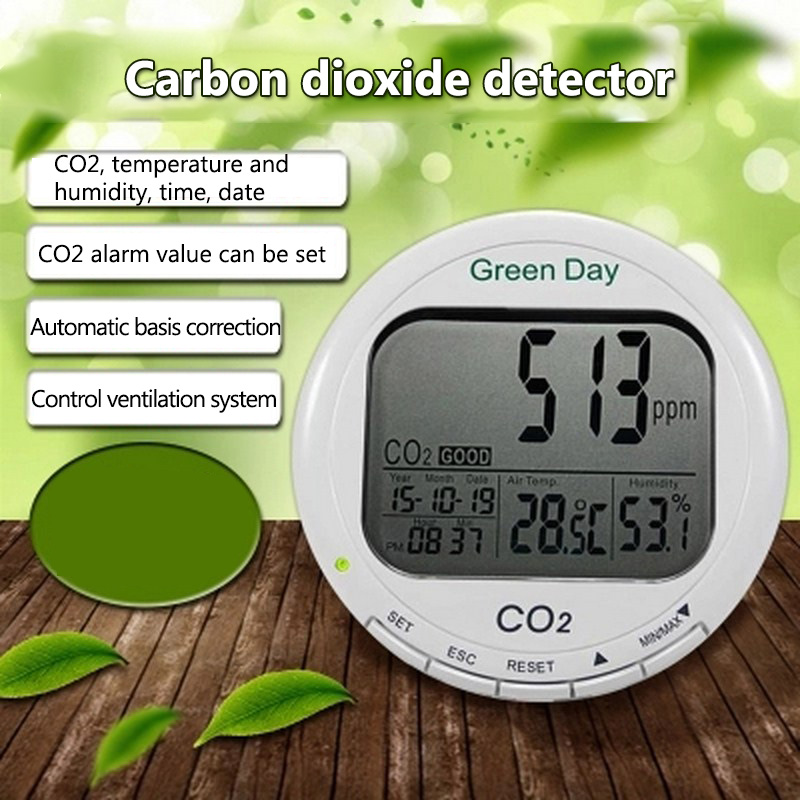 CO2 Detector Carbon Dioxide CO2 Analyzer Gas Leak Detector with Alarm System Digital CO2 Monitor Air Gas Detector Sensor