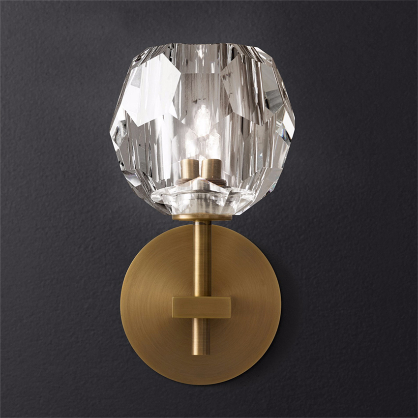 Modern lamp Led crystal lamp wrought iron gold wall lamp bedroom living room dining room TV wall decoration lamp цена