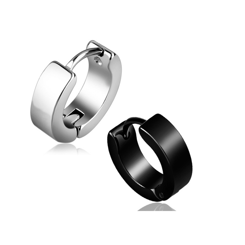 E609 hot Chic Cool Stainless Steel Hoop Piercing Round Couples Earring Ear Stud men jewelry Punk Stainless steel ear clip