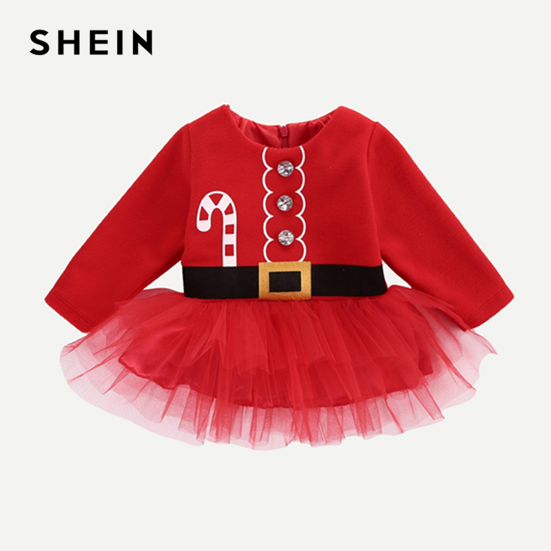 SHEIN Kiddie Red Baby Christmas Print Rhinestone Mesh A Line Dress 2019 Spring Long Sleeve Cute Kids Dresses For Girls Clothing