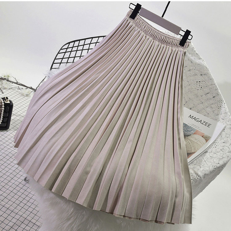 19 Two Layer Autumn Winter Women Suede Skirt Long Pleated Skirts Womens Saias Midi Faldas Vintage Women Midi Skirt 13