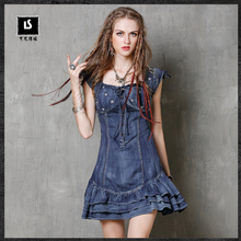 Summer Dress 2017 Keer Vintage New Denim Women Dresses Short Sleeve Ruffles Hem Ball Gown Vestido A8150 Boho Vestidos Femininos