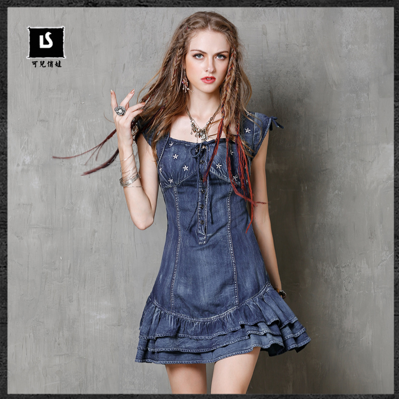 Summer Dress 2018 Keer Vintage New Denim Women Dresses Short Sleeve