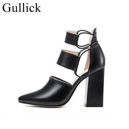 Hot White Black Leather Sexy Peep Toe Chunky Heels Ankle Boots Cut-out Thick Heel Gladiator Sandal Boots For Women Dress Shoes