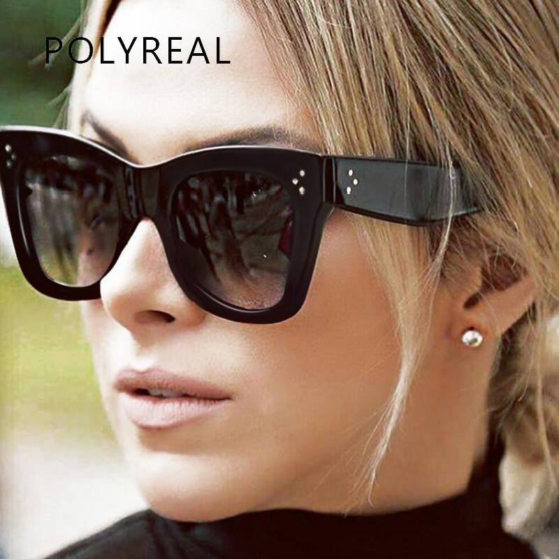POLYREAL 2017 New Fashion Vintage Oversized Sunglasses Women Men Brand Designer Big Frame Sun Glasses Shades